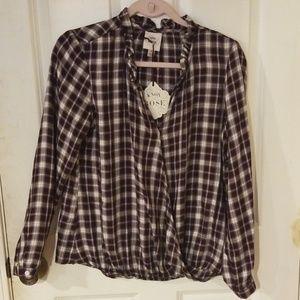 🌟Plaid Long Sleeve V-Neck Blouse-Knox Rose